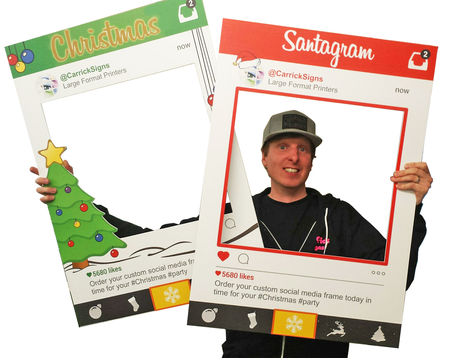 Christmas Selfie Frames - Christmas Party Photo Prop Boards