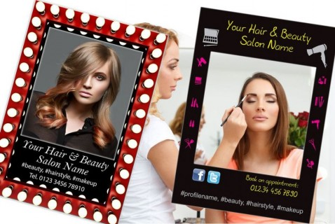 Hair and beauty salon selfie frames